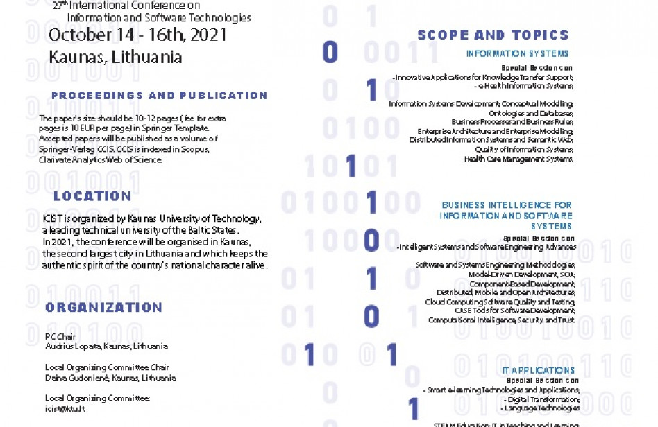 27th International Conference on Information and Software Technologies October 14 - 16th, 2021 Kaunas, Lithuania